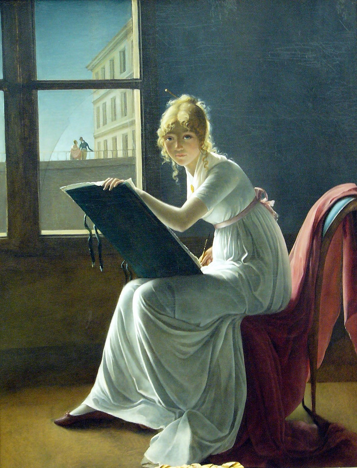 Some eighty years ago the Metropolitan Museum of Art in New York was bequeathed a painting entitled Young Woman Drawing dating from around 1801. It was attributed to the great Neoclassical French painter Jacque-Louis David. It depicted a lovely young woman, in her mid-20s, sketching in the light from a background window containing a broken pane of glass. The work was typical of David's exquisite handling of light and delicate textures, his composition, sense of space, Classical elegance, and restraint. The critics loved it and congratulated the Met on its great good fortune in having such a masterpiece. However, in the years that followed, complex study of the work by art researchers began to cast doubt on its attribution. Eventually, the artist was found to be Marie-Denise Villers who, inasmuch as she was born in 1774, would have been the right age for the painting to have been a self-portrait. Her steady, open gaze was that of an artist peering into a mirror. As time went on, further studies indicated that there were at least NINE women artists painting around the turn of the century in Paris and much, in some cases ALL, of their work had been attributed to David. To add insult to injury, once the correct attribution had been worked out, critics began to see the Villers portrait in a different light, noticing its weaknesses - the proportions from waist to knee being not quite right and the fact that the artist had placed the woman's technically difficult drawing hand down at her side to avoid having to render it. Actually, the pose is quite pleasant, quite natural, and any anatomical peculiarities could easily be chalked up to the fashionable, high-waisted, Empire style gown she is wearing. Critics aside, in light of its being a self-portrait, we find new meaning in the painting's background, particularly the loving couple, seen through the imperfect, broken glass of the window, as they are hemmed in by a railing and building. Meanwhile, in the foreground we find the young artist, having dedicated her life to her art, in a spacious, open area seeing herself reflected by the perfect glass of a mirror.