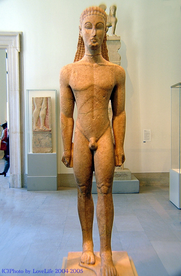 Marble statue kouros (youth) 590 580 BC.