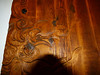Closeup of an early JAMES HUBBEL door carving.