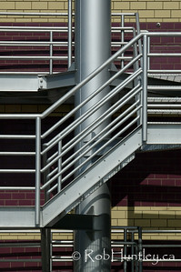 Railings, stairs, pipes and tiles.  © Rob Huntley