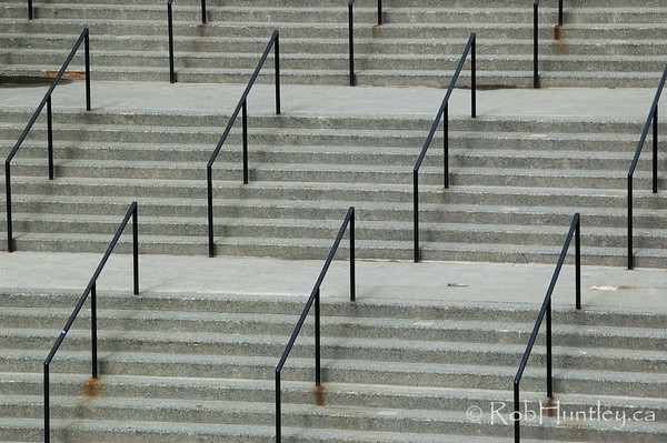 Abstract of stairs and railings in Vancouiver, British Columbia.  © Rob Huntley