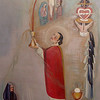Canvas painting representing the sacrifice on Calvary. The Sister in the black habit represents Mother Brunner; the four Sisters across the bottom represent the Juniorate Sisters. The items they are carrying represent the four ends of the Mass: 1) Incense represents praise; 2) Harp represents Thanksgiving; 3) Crown with cross in the center represents reparation or reconciliation; 4) Book represents the petitions or intercessions. The five Sisters on the right side of the painting represent the Sisters going up to make their first vows. The priest is St. Gaspar del Bufalo with Chalice in his hand representing the Mass, offering the Sisters life through their vows. The art at the top represents heaven and all the graces being received through the Mass.<br /> This painting (which is 12x4') is currently displayed on the stairwell wall between the first and second floors at Salem Heights.
