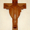 CHRIST THE PRIEST. Hand-carved in the 1950s during Liturgical renewal. Previously hung in the Sisters' dining room at Regina High School in Norwood, Ohio.