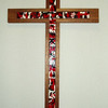 Mosaic cross with inlaid enamel squares - the richness of the glory and salvation of the cross.