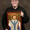 """Br. Stanley Rother Wagner, OSB, has an icon of Bl. Stanley Rother hanging in his cell in the monastery. """"I call him 'Flat Stanley,"""" says Br. Stanley.<br /> <br /> Iconographer Vivian Imbruglia of Sacred Images Icons wrote this icon last summer. The Marian chasuble reflects both Stanleys' devotion to the Blessed Virgin Mary; the staff symbolizes Bl. Stanley's call to be the Shepherd who did not run."""