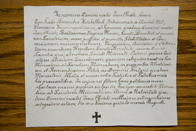 Vow chart for Fr. Bernard Heichelbech, signed in 1888.