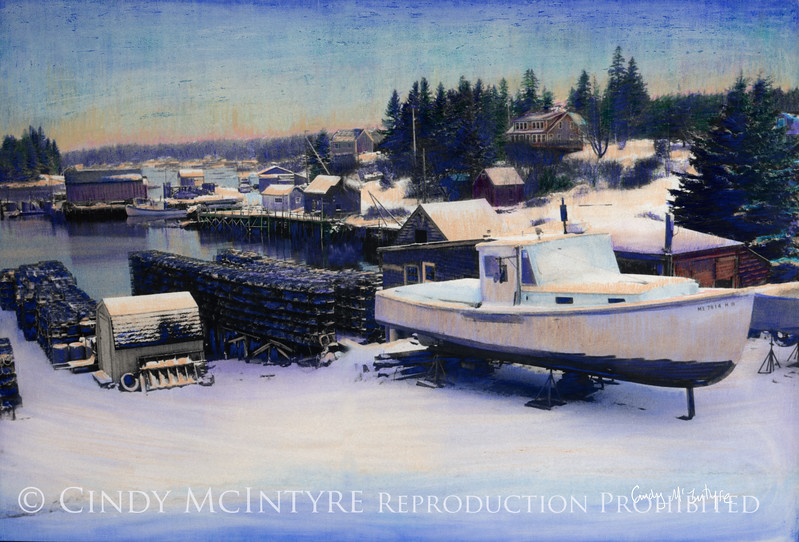 Carl's Dock -  lobsterman's dock and boat in cradle in winter, Port Clyde, Maine