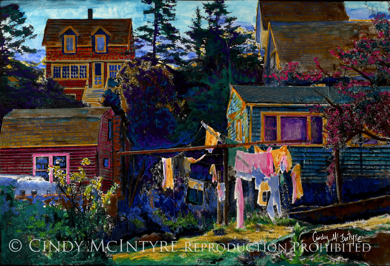 Monhegan Laundry -  Monhegan Island, Maine - Hand-Painted Black-and-white photograph