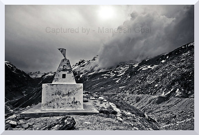The Protector! A small temple stands in defiance to the gathering storm near the Rohtang Pass top!