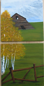 Leaning Barn and Aspen tree's