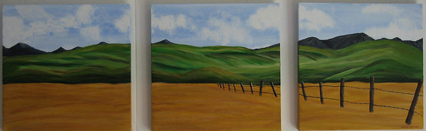 Triptych of Southern Alberta Ranch land in the foothills