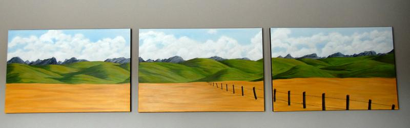 This one is a much larger version of Southern Alberta Ranch land in the foothills . Each of the canvases is 3ft wide and 2ft high. Click on the photo to see it larger.