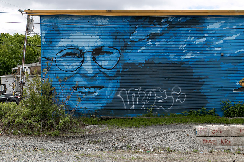 The Fitchburg mural of Marion Stoddart, an environmentalist who was instrumental in cleaning up the Nashua River, has been tagged. SENTINEL & ENTERPRISE/JOHN LOVE