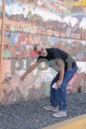 4 November 2017 Rory Murray Adds Details to the Histric Mural at the Original McDonalds Museum , San Bernardino CA