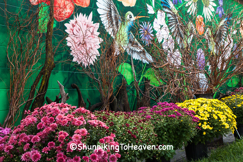 Mums and Hummingbird Mural, Village Greenhouse, Gays Mills, Wisconsin
