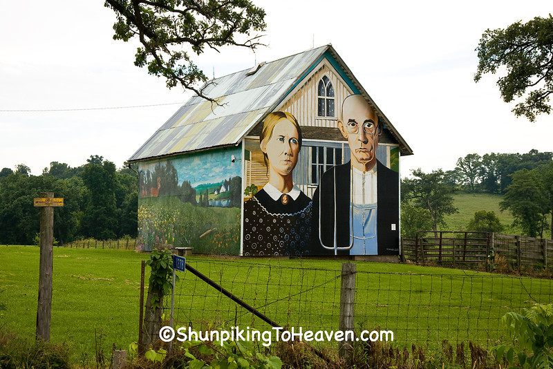 Grant Wood's American Gothic Barn Mural by Mark Benesh, Linn County, Iowa