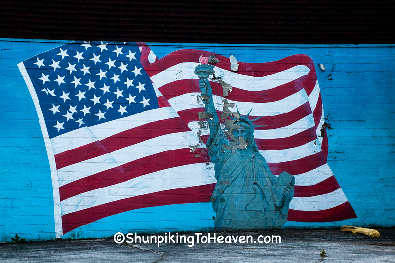 Flag & Statue of Liberty Mural, Allen County, Indiana
