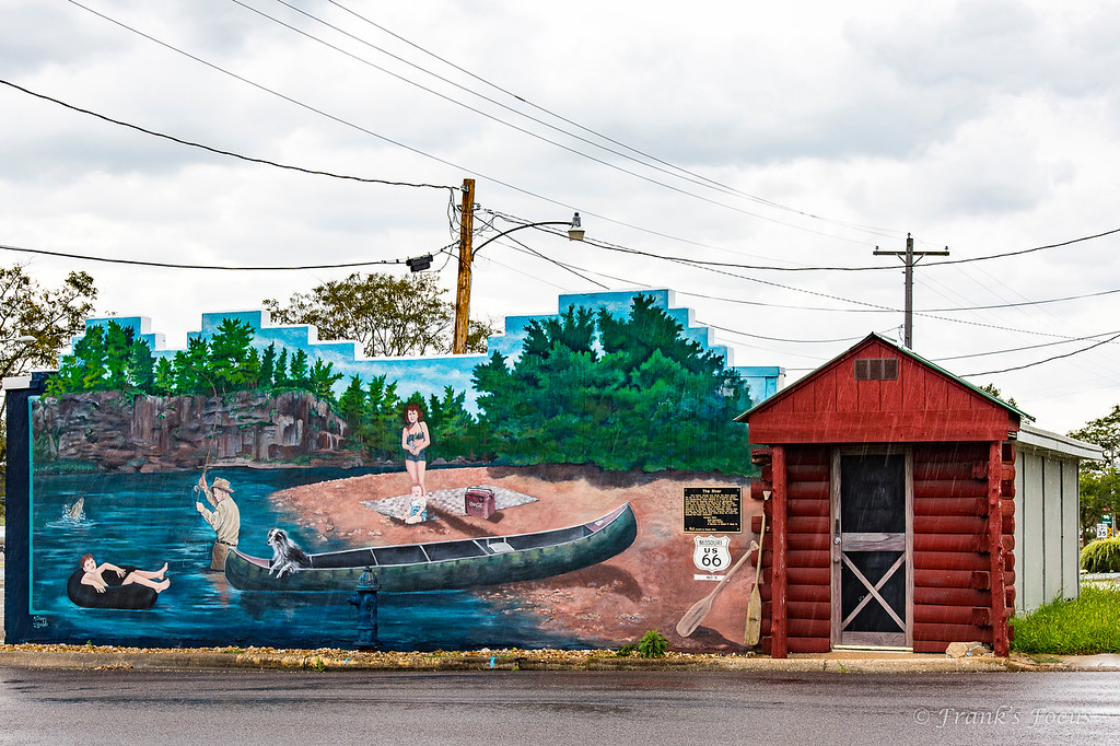 """.<br /> Mural titled """"The River"""" in Cuba, Missouri.  It depicts the use of nearby Meramec River as a resource for recreation, beauty and transportation during the early-to-mid 19th Century."""