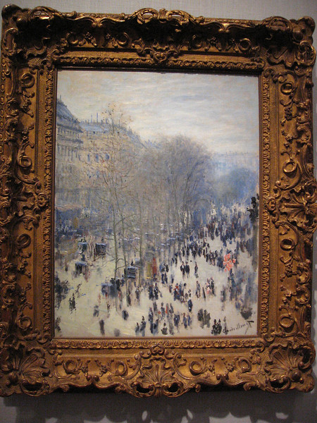 """My favorite painting is Claude Monet's """"Boulevard des Capucines"""".<br /> I like this so much that Becky bought me a post card of it in the gift shop to use as a book mark - <br /> even though she bought me the same post card the last time we were here but I can't remember what book it is in at the moment."""