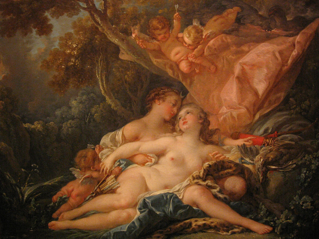"""Jupiter in the Guise of Diana and the Nymph Callisto"" by Francois Boucher."