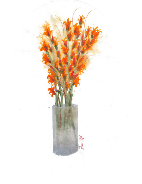 A watercolor <strong>~ <em>Pam's Gladiolas</em></strong>