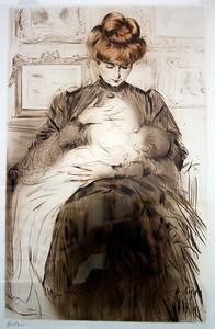 Paul-César HELLEU, 1859-1927 (France) Jeune femme allaitant son enfant (ca 1900) Private Collection (Photo Taken At 'Le Grand Palais', Paris in April 2011)