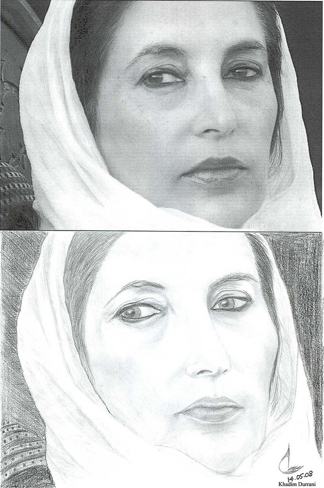 A sketch of Benazir Bhutto (Late). As far as her eyes are concerned I think I failed there; I have also made some small errors which can be seen when the sketch is compared with the original picture. Note: it was a free hand sketch.