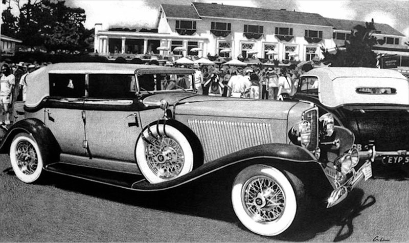 """American Classic"" Duesenberg at Pebble Beach - Pencil (Prints Made)"