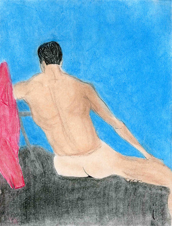 nude 14 colored pencil sketch