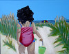 Jelisa, heading to the beach..sippy cup and all - acrylic