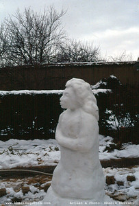 A [traditional] snow woman  that I carved at Anwar Panezai's place in Khanozai (Winter 1992/93)