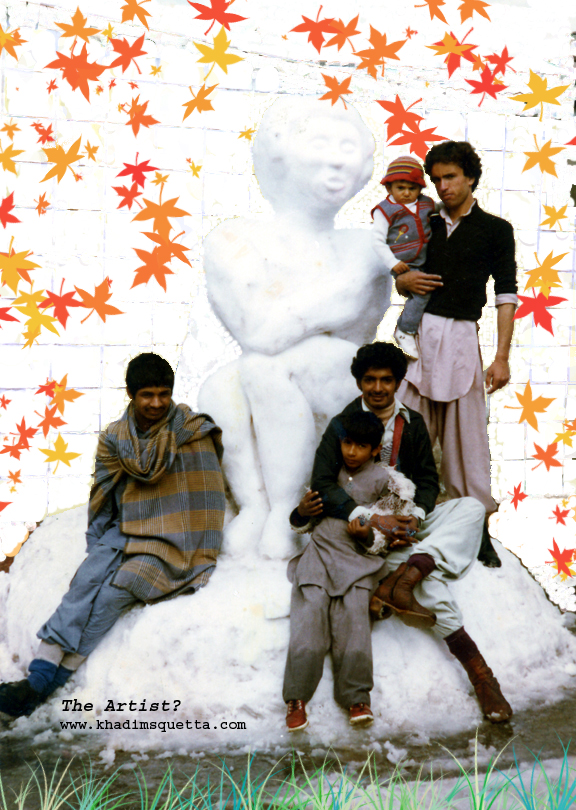 The Snow woman!   In January 1982 it had snowed exceptionally a lot! I grabbed the opportunity and mobilized a few young lads. By means of an avalanche (a snow ball!) coalesced enough snow to work on it. I started carving a man but at the end it turned out to be a woman! Not everyone was pleased with it due to his or her religious convictions. It took me a couple of hours to complete my premier chef-d'oeuvre! Luckily a few people had photographed my snow woman - as it did not melt but was beheaded in the evening while I was away, at home, trying to compensate for the lost body heat due to the hard work of the day!