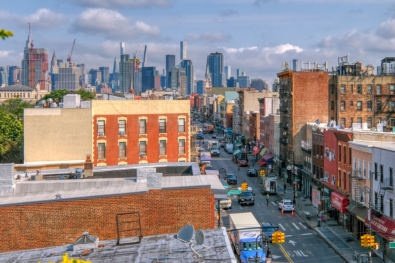 An aerial view at an NYC cityscape and streetscape from Greenpoint, Brooklyn.