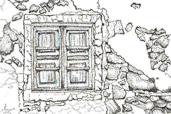 <b>Old Window at Santorini</b> On a recent trip to Greece, I visited several of the islands.  Santorini was the most picturesque of all.  Lots of old buildings, doors and windows, one of which I captured above. This pen and ink stipple drawing also has a light wash of blue on the windows.