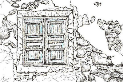 Old Window at Santorini On a recent trip to Greece, I visited several of the islands.  Santorini was the most picturesque of all.  Lots of old buildings, doors and windows, one of which I captured above. This pen and ink stipple drawing also has a light wash of blue on the windows.