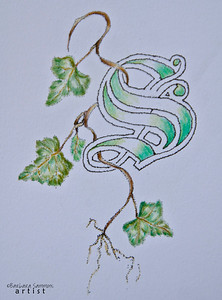 Decorative Initial with Ivy Pen & Ink with Colored Pencil