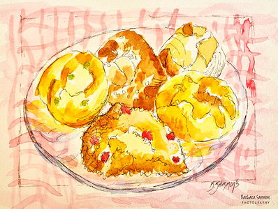 "Breads, Rolls, Scones and More ~from ""Dough"" Bakery, Asheville, NC Materials Used: ~Strathmore Watercolor Paper Cold Press ~Winsor & Newton Artists' Watercolor Field Box Set"