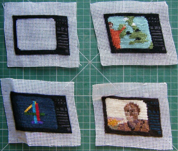Bamber Hawes ~ This was the beginings of a large stitching project that would be called 'Neddlepoint TV'. The idea was that if I watched two or three hours TV of an evening I could complete one of these small pieces.  Later I would stretch them into shape and sew them togehter ~ to be continued...
