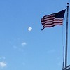 US Flag and Moon