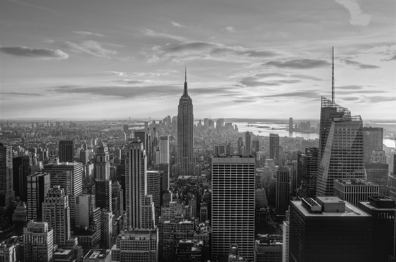 Fly me over the City - Sunset over Manhattan from the Top of Rock (Black & White Version)