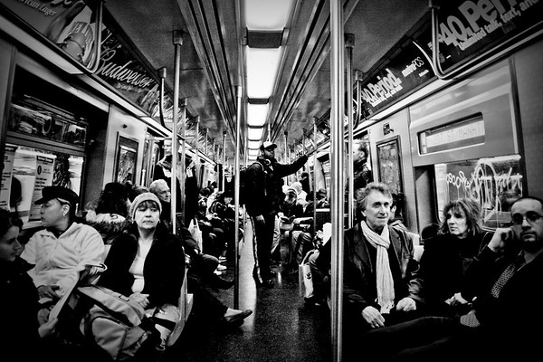 Crowded A-Train, NYC.