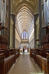 A view inside Salisbury Cathedral in Salisbury, UK.