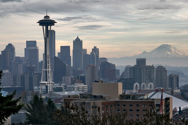 One of my favorite photos, the Space Needle and downtown Seattle shadowed by an ominous and massive Mt. Rainier.