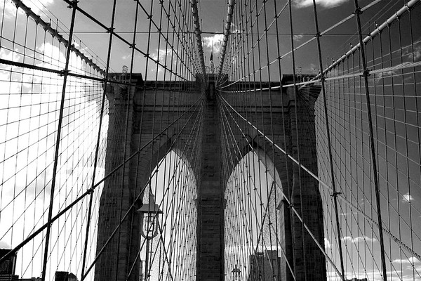 Brooklyn Bridge facing West.