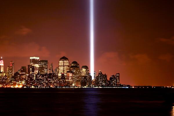 """9/11/2006 """"Tribute in Light"""" memorial."""