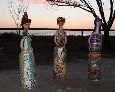 The Three Fridas, Monte Lupo - Swell Sculpture Festival 2012, Dawn Visit; Currumbin, Gold Coast, Queensland, Australia; 21 September 2012. Photos by Des Thureson.
