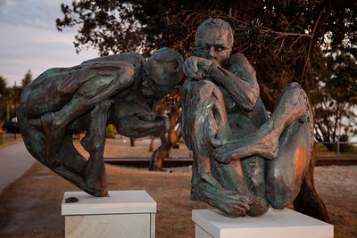 Uprooted II (Immigration Series) & Uprooted IV (Immigration Series), Jacques Van der Merwe - Swell Sculpture Festival 2012, Dawn Visit; Currumbin, Gold Coast, Queensland, Australia; 21 September 2012. Photos by Des Thureson.