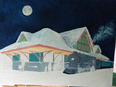 DSCN1243  Night Train, add texture to train,   june 12, 2012