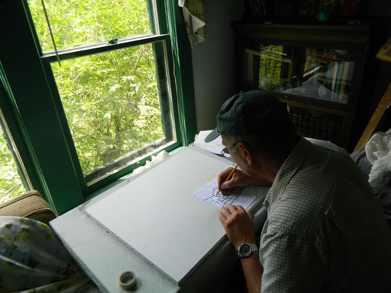 DSCN1228 Night Train, tracing 1st sketch on canvas, june 10, 2012