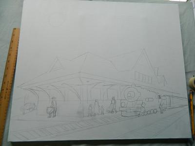 DSCN1229  Night Train, 1st sketch on canvas, june 10, 2012